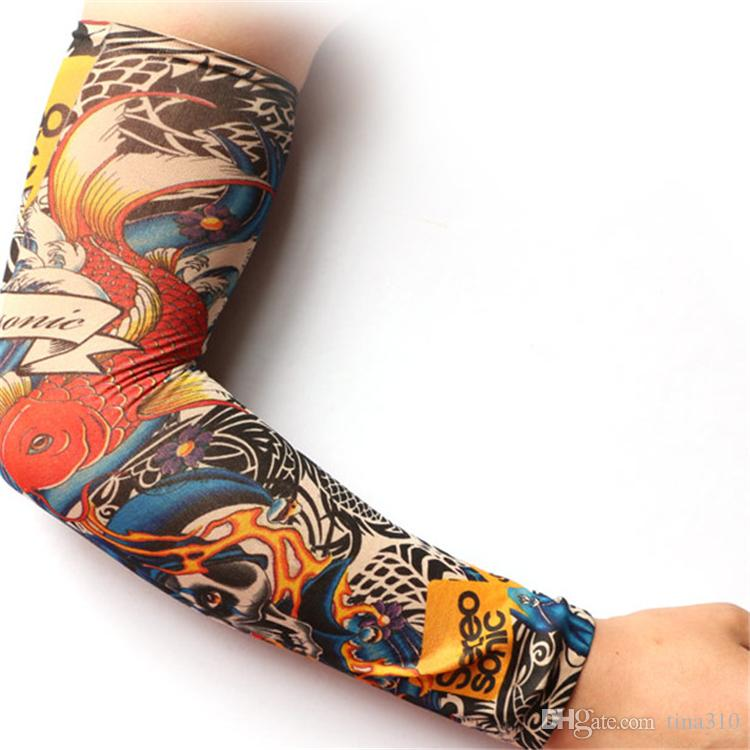 New Multi style Nylon seamless elastic Fake temporary tattoo sleeve designs body arm sleeve tatoo for cool men women sleevelet 2177