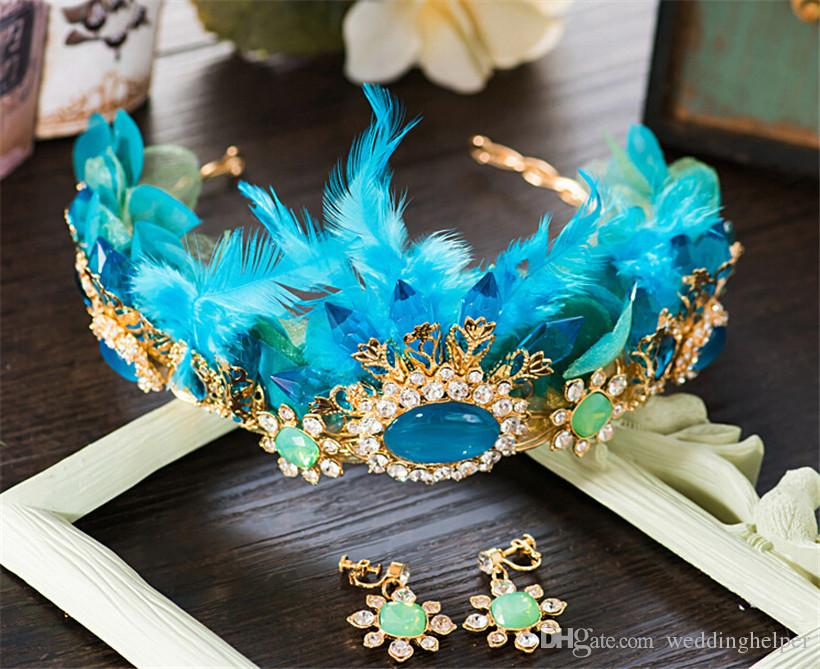 Vintage Wedding Bridal Blue Crown Tiara Feather Headpiece Headband Hair Accessories Jewelry Earrings Jewelry Set Fascinator Party Prom Band