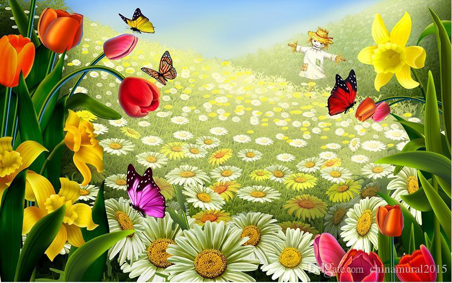 Papel pintado del paisaje 3d Papel pintado personalizado del jardín mediterráneo para las paredes