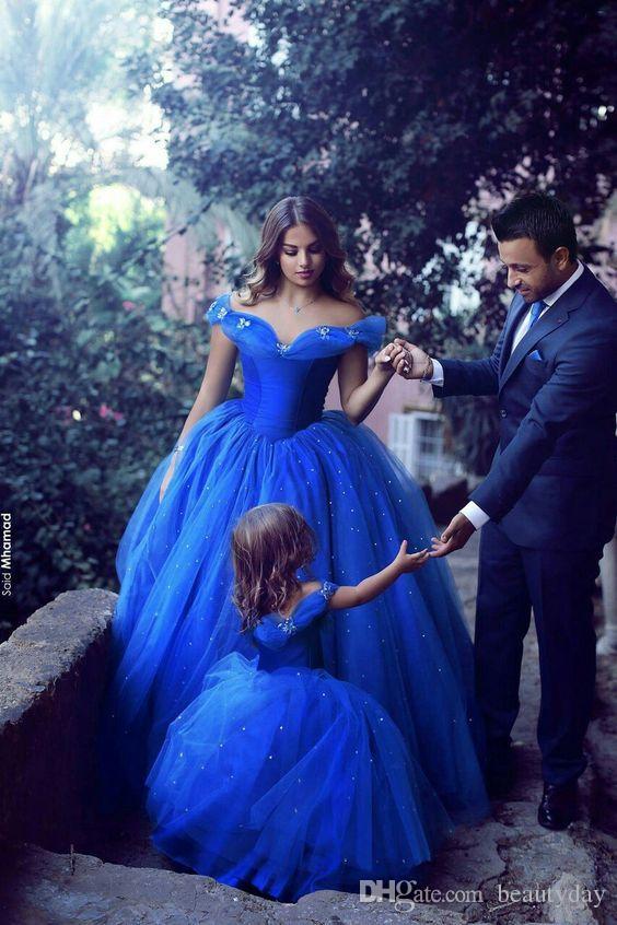Disse Mhamad Azul Royal Princesa Do Casamento Vestidos Da Menina de Flor Puffy Tutu Cristais Sparkly 2019 Pagot Toddler Little Girls Comunhão Vestido