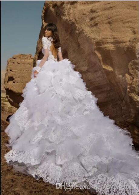 Weiße Spitze Ballkleid Brautkleider mit Kristall bestickte Kurzarm Schlüsselloch zurück gekräuselte Spitze Tüll Brautkleider