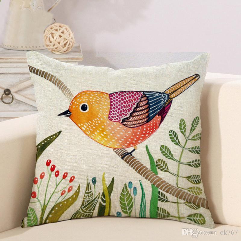 Mão Pintura Pássaros Almofadas Cobre Fronha Pássaro Árvore Capa de Almofada Sofá Couch Lance Decorativa Linho De Algodão Travesseiro Caso Presente