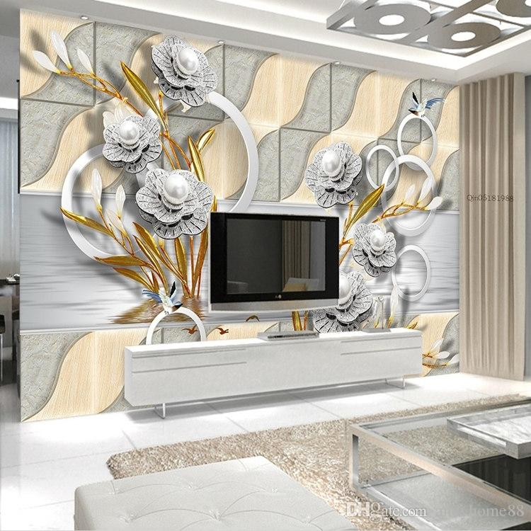 Mural Fashion Classical 3d Three-dimensional Large Murals Golden Sofa Background Wall 3d Wallpaper 3d Wall Murals 3d Wallpaper A Complete Range Of Specifications Painting Supplies & Wall Treatments