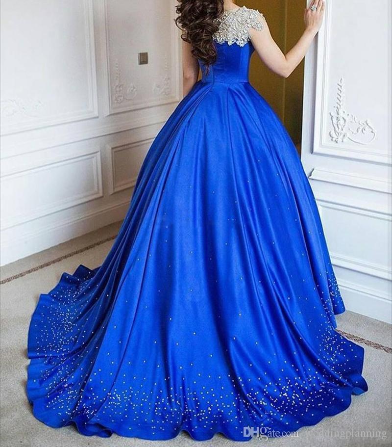 2017 azul royal luxo vestido de baile vestidos de baile off ombro mangas beading cetim até o chão árabe plus size vestidos de noite