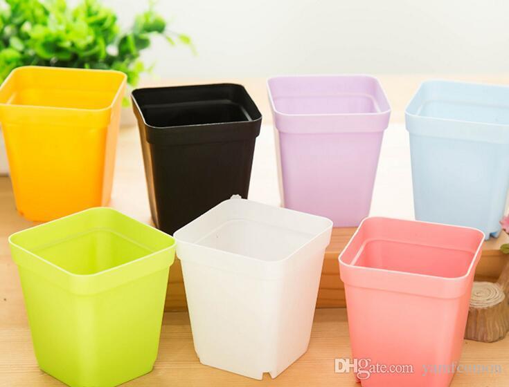 Bonsai Planters Plastic Table Mini Succulents Plant Pots and Plate Gardening Vase Square Flower Pot Colorful