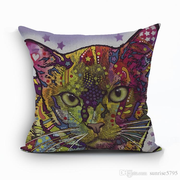 color mixed cat cushion cover creative pet kittens almofada fashion home decor modern sofa chair bed cojines