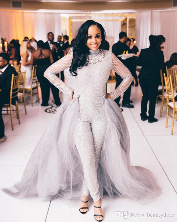 2017 Sliver Wedding Jumpsuit Dresses With Detachable Train
