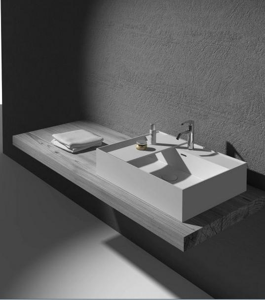 Rectangular Bathroom Solid Surface Stone Counter Top Vessel Sink Fashionable Cloakroom Stone Glossy Vanity Wash Basin RS38331