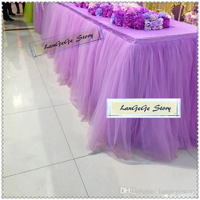 Princesa vestido de mesa / Frete grátis / saia roxa com duas camadas de malha toalhas de seda ICE / Banquet Louça / 2M / 3M / 4M / 5M / 6M pode escolher
