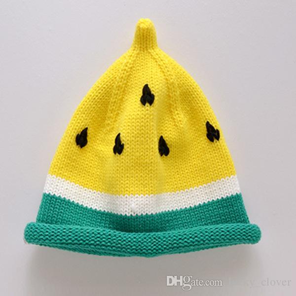 Nueva llegada es Bebé niños otoño invierno crochet sombrero patrón de fruta tapa de la sandía tapa de mantener caliente tapa de punto 1-6 años de edad SEN255