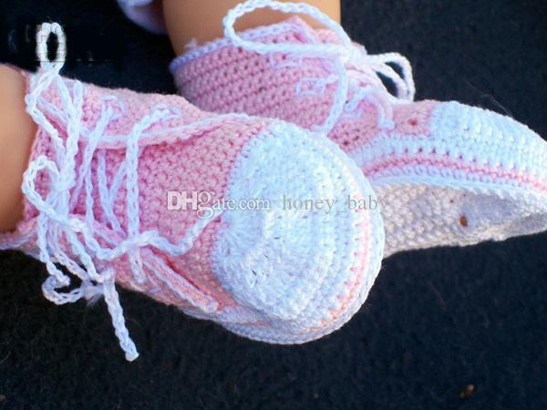 Crochet Baby Boys Girls Sports Prewalker Shoes Sneakers Newborn Infant Tennis Shoes Knitted Newborn First Walkers Booties 0-12M Cotton Yarn