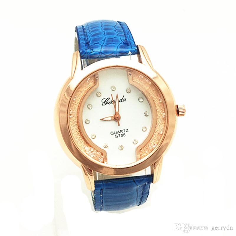 !PVC leather belt,gold plate case,moving sand stone under glass,crystal on dial,gerryda fashion woman lady quartz leather watch