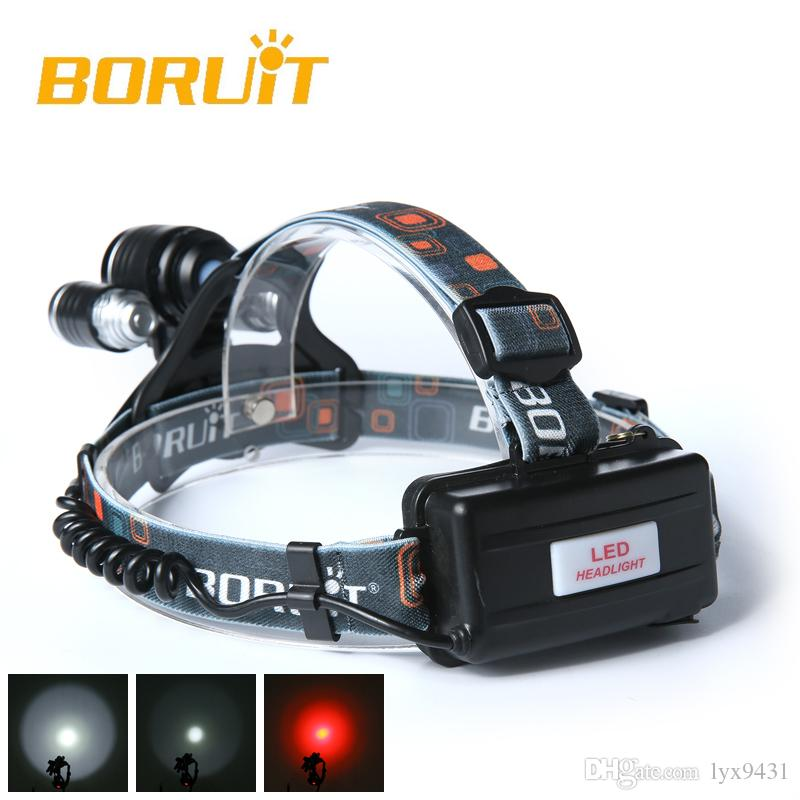 BORUIT 3 x XM-L T6 White+2R5 Red LED 6000LM Bicycle Head Light Headlamp Torch USB Lamp Charge