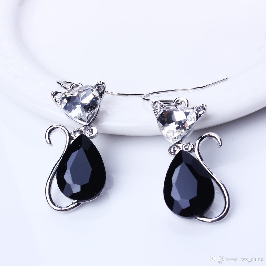 Women Wedding Crystal Jewelry Sets Rhinestone Cute Cats Earrings/Pendant Necklaces Red Black Blue White Gold Plating Jewelry set New Arrival