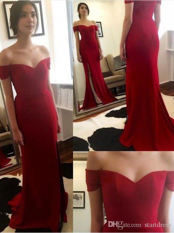 Discount Corset Red Prom Dresses Long Off The Shoulder Short Sleeve Formal Dresses Noble Front Slit Evening Gown Vestidos De Fiesta Bridal