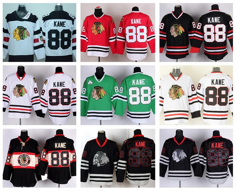 278c9d0ba 2019 Chicago Blackhawks 88 Patrick Kane Jersey Sport Ice Hockey Winter  Classic Home Red Alternate White Green Black Ice Skull From Top sport mall