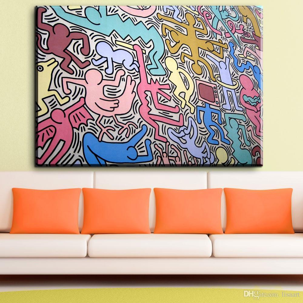 ZZ1881 graffiti canvas prints art abstract canvas pictures keith haring oil art painting for livingroom bedroom decoration unframed