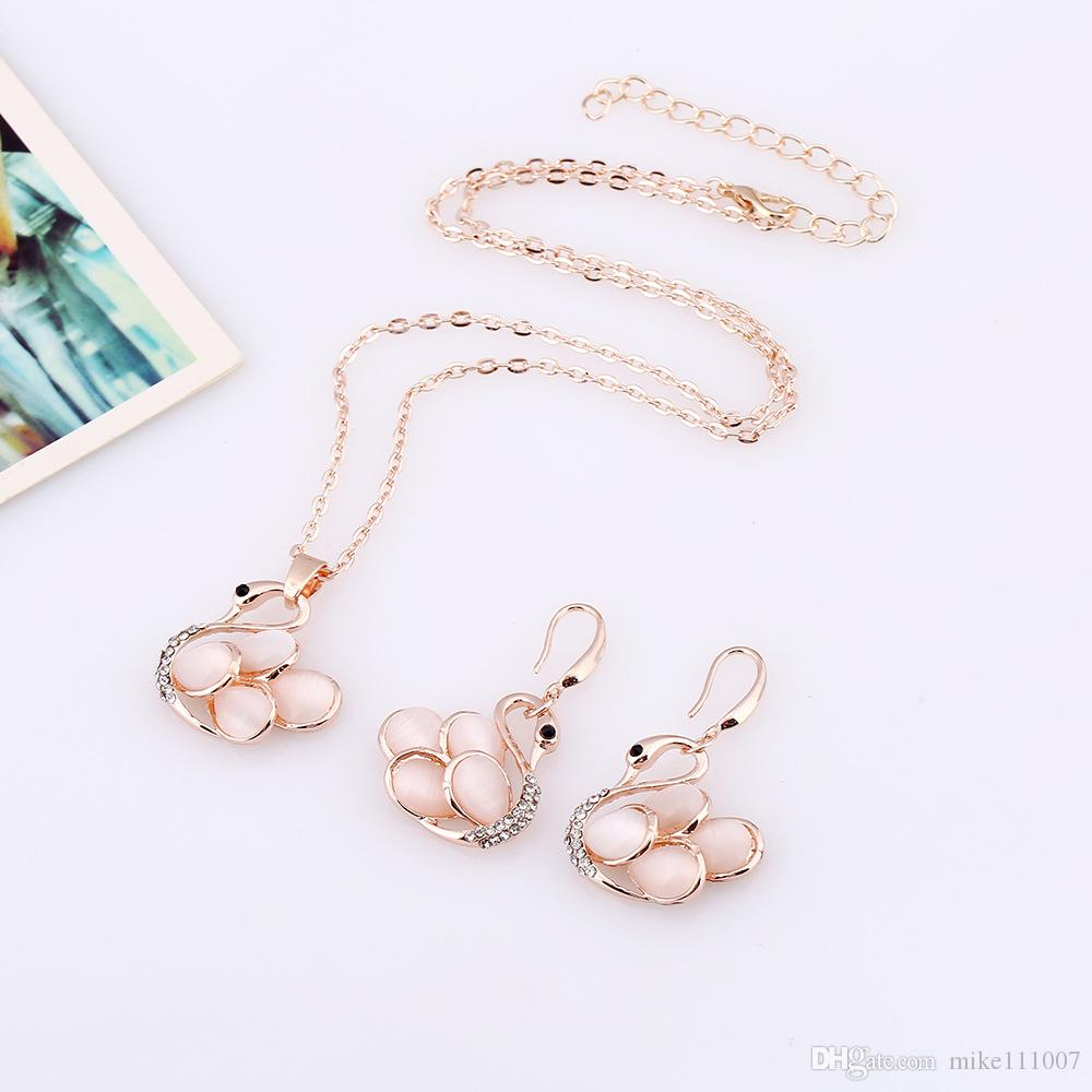 Rose Gold Plated Austrian Crystal Rhinestone Swan Necklace Drop Earrings Set Jewelry Sets Bridal Wedding Jewelry For Women