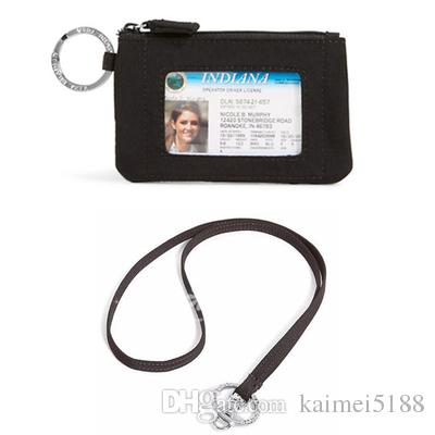 303ae9842a72 Black Zip ID Case With Lanyard ID Card Holder Credit Card Bus Card Case  Mens Bags Front Pocket Wallet From Kaimei5188, $7.11| DHgate.Com