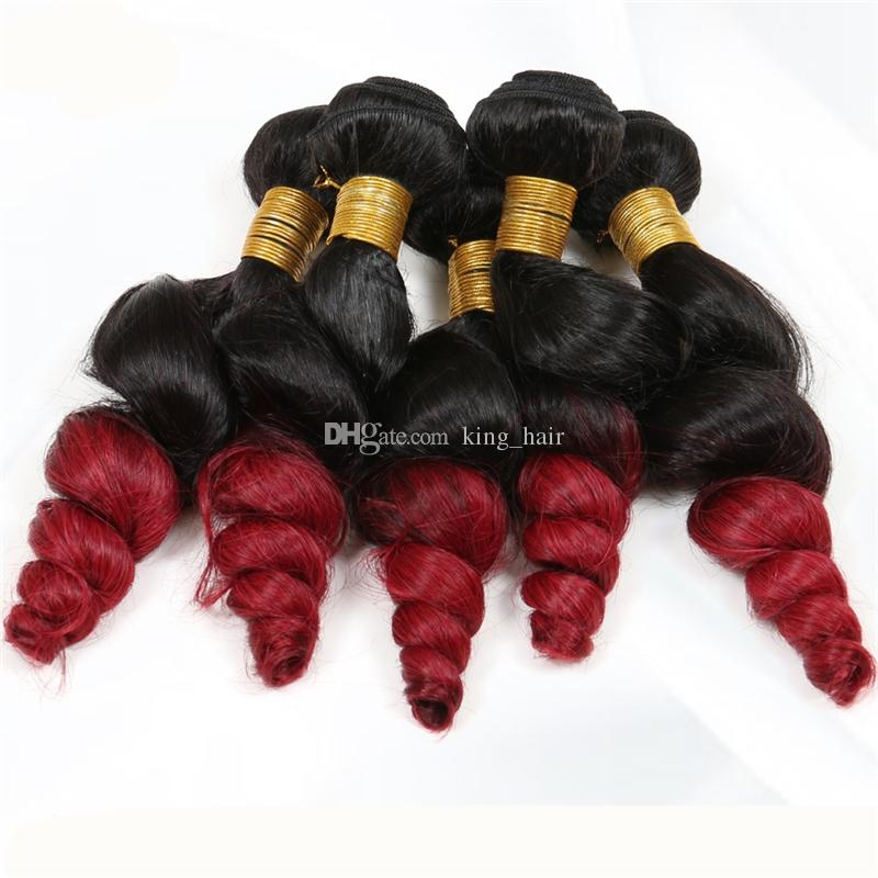 Dark Root 1B Red Loose Wave Ombre Hair Extension Double Wefted Brazilian Loose Curly Ombre Hair Bundles For Black Woman