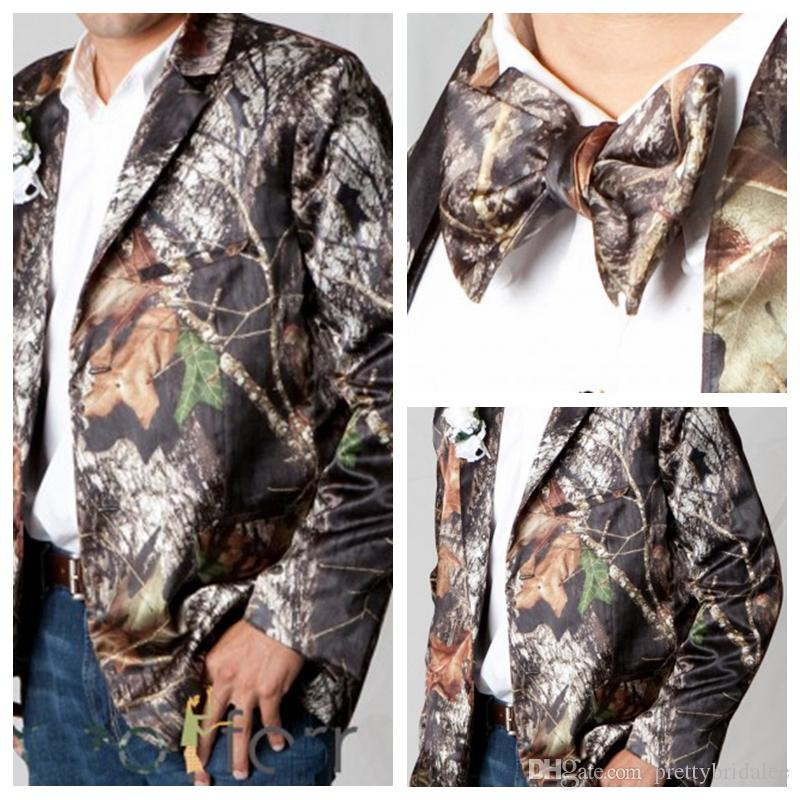 2017 Formal Man Camo Wedding Tuxedos Jacket With Bow Camouflage
