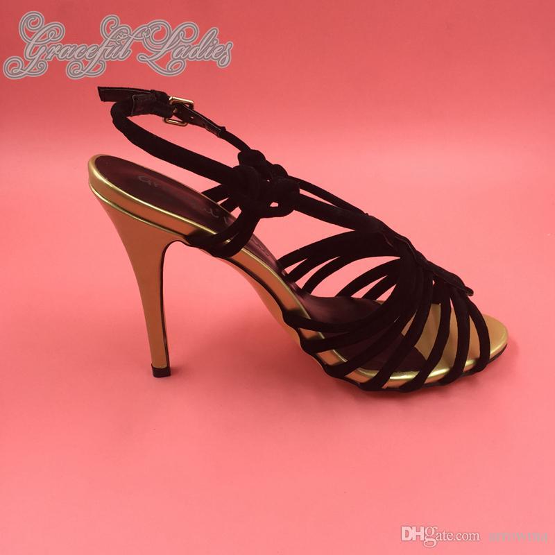 블랙 실제 이미지 샌들 2016 높은 얇은 발 뒤꿈치 맞춤 제작 플러스 크기 여름 스타일 여자 샌들 플러스 크기 진짜 이미지 핸드 신발