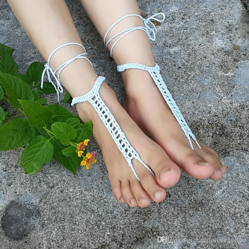 Crochet Barefoot Sandals Lace Sexy Yoga Shoes Foot Jewelry,Summer Sandals Hollow Anklets , Beach Wedding Bridal Party Anklets