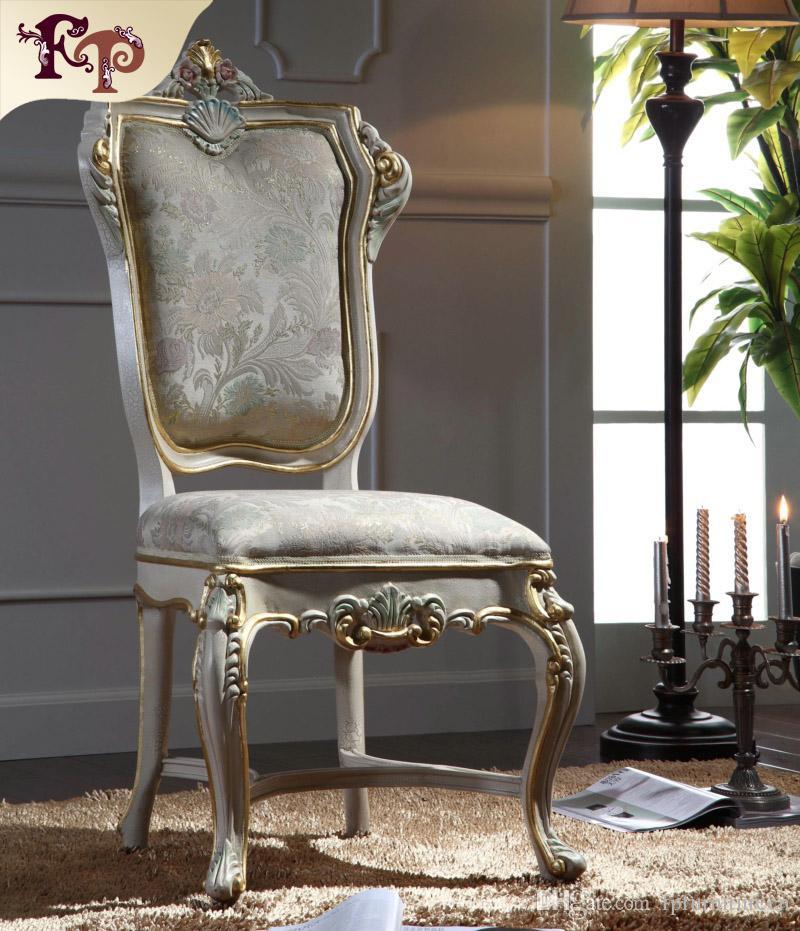 Silla de comedor clásica clásica de madera maciza - Muebles antiguos  europeos - Silla de comedor antigua de madera maciza con marco