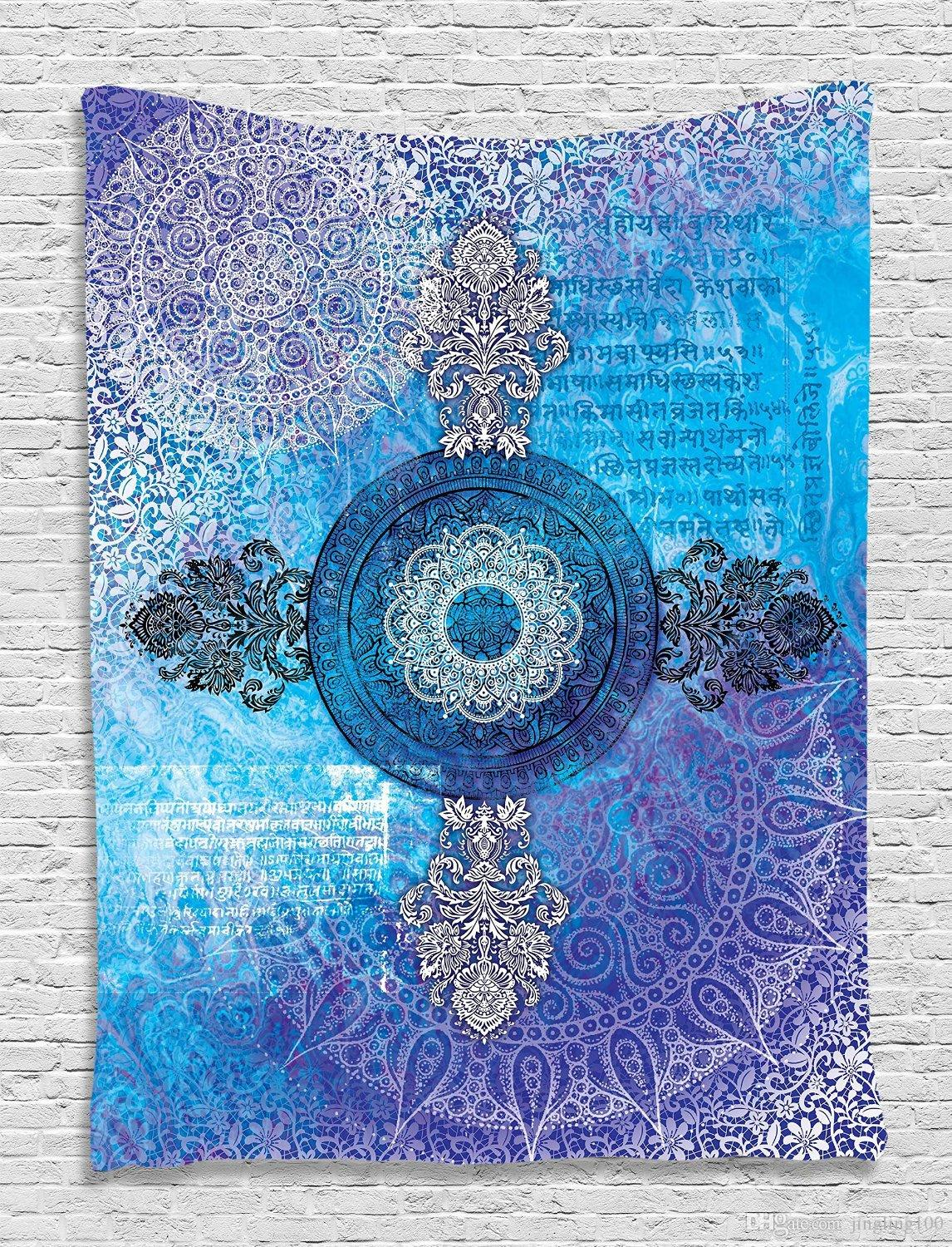 Indian Bohemian Mandala Wall Decorativi appesi arazzi copriletto Ethnic Throw Art Floral Towel Beach meditazione Yoga Throw Mat Coperta