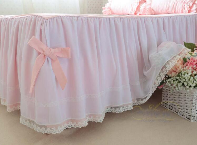 pink princess Luxury cotton twill big ruffles bowknot Craft embroidery warm 4 layers bedding sets pillowcase, bed skirt Duvet Cover