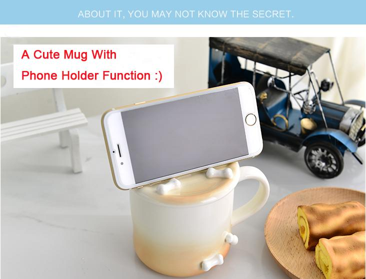 hand painted porcelain animal mug 3d ceramic coffee cup with phone holder function really big coffee mugs red coffee mugs from