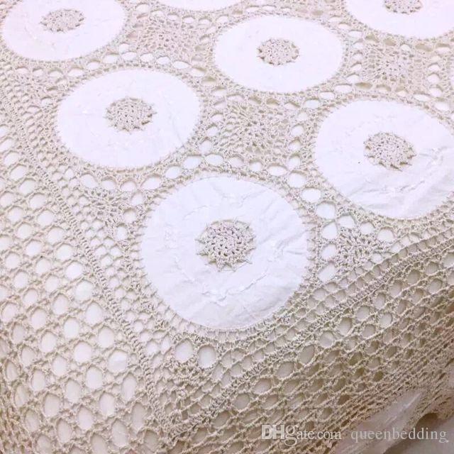 100% copripiumino set da letto a mano del crochet del cotone classico letto diffusione di lusso federa impostati beige stile americano copriletto biancheria da letto