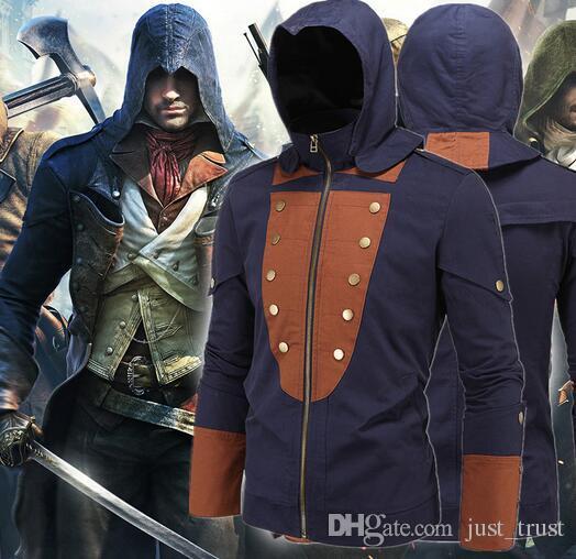 2016 Hot Assassin 's Creed costumes Jacket 남자 패션 Mission cosplay Hoodies Movie 어벤저 스 슈퍼 히어로 롤 플레잉 할로윈 파티 의상