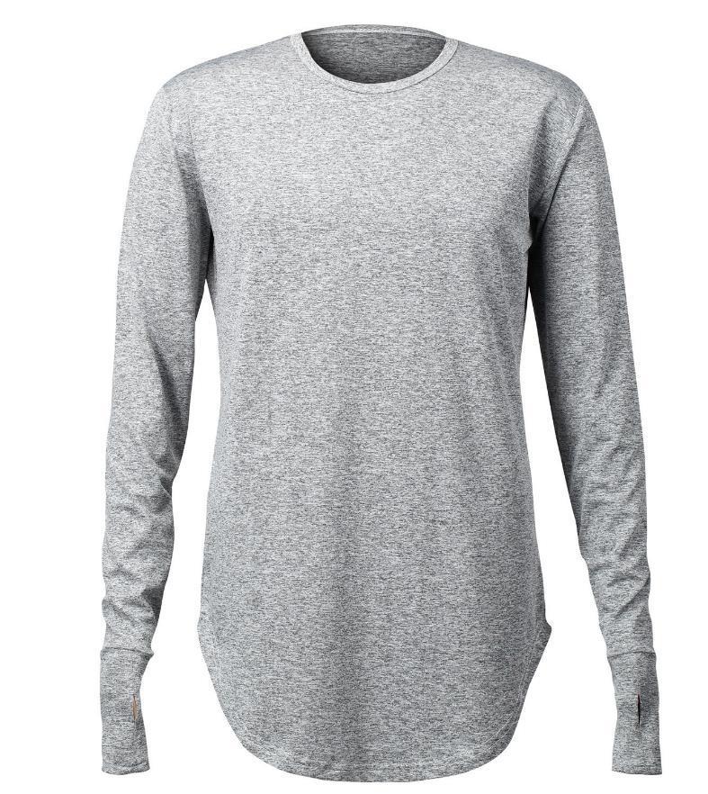 Hip Pop Cool T-Shirt Men Glove Thumb Design Irregularity Hem O Neck Long Sleeve Men Tee Shirts Hollow Out Thumb Sport Tshirt