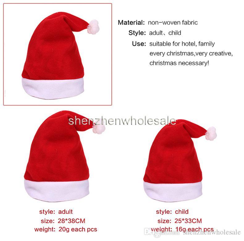 Sombrero de navidad gorro no tejido Sombreros de navidad gorras rojas Sombreros de Papá Noel rojo lindo Adultos para niños senta gorras 2016 nuevas decoraciones de navidad desgaste paño