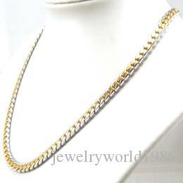 Rapide Livraison Gratuite Fine Femmes 14 k blanc jaune or rempli collier large chaîne lourde partie luxe bijoux