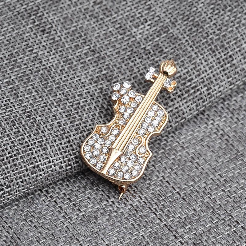 2018 Mujeres Wedding Party Luxury Violin Shape Crystal Jewelry Broche Pin Up Crystal Broche China Chapado en oro FashionZz-0903613