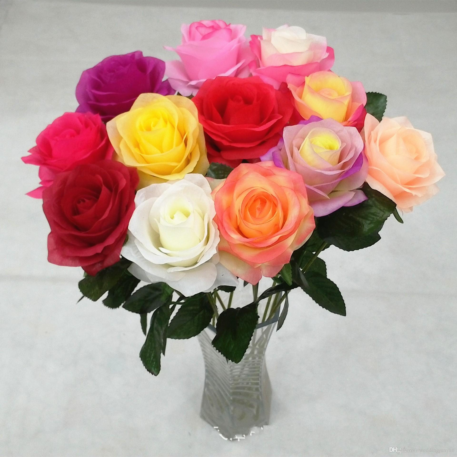 2018 2016 New Styles Artificial Rose Silk Craft Flowers Real Touch