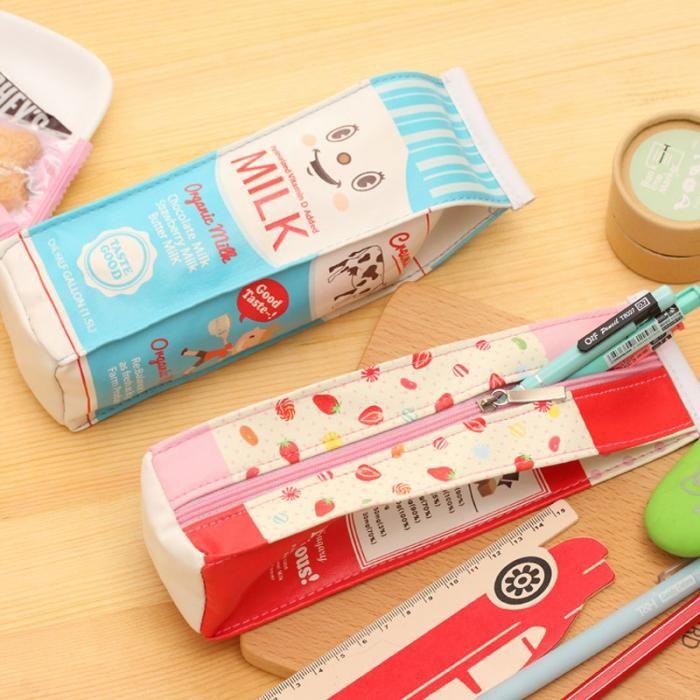 / Simulação criativa do suprimento de leite Caixas de lápis caso do plutônio Pen Bag Kawaii Stationery Bolsa escritório da escola