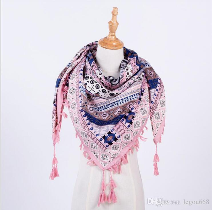 Venta caliente Nueva Moda Mujer Bufanda Cuadrada Bufandas Borla Impreso Mujeres Abrigos Invierno Otoño Señoras Chales G1192