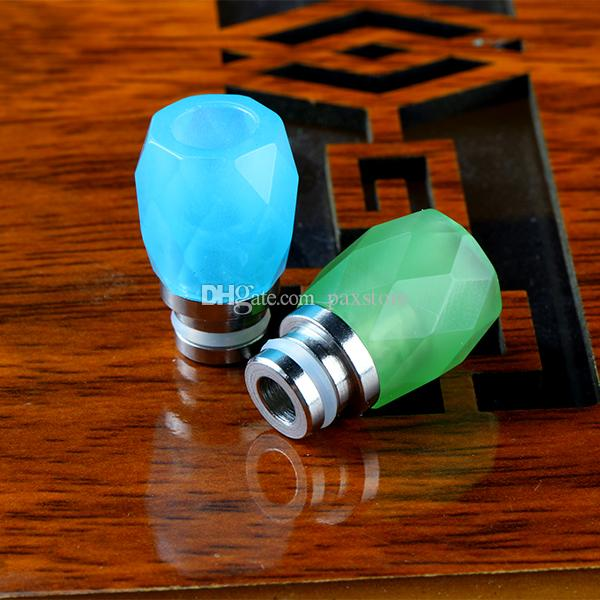 Colorful Rhombus Glass Drip Tips for Ecigs Stainless Steel 510 Diamond Glass Drip Tip Wide Bore MouthPiece Fit 510 Atomizers DHL Free