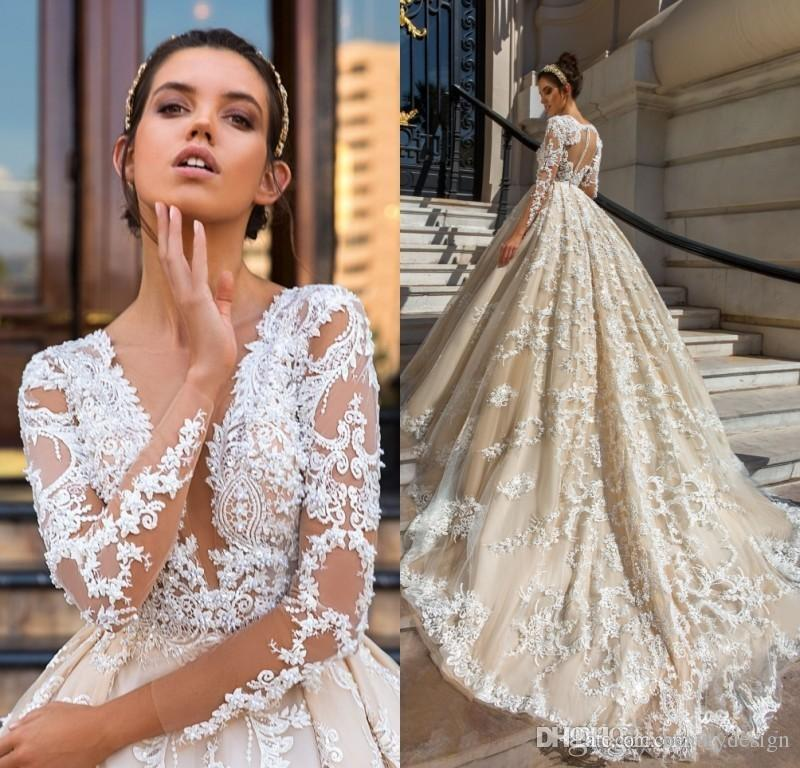 Discount Long Sleeve Lace Ball Gown Wedding Dresses 2018 Robe De Mariage Applique  Vestido De Noiva De Renda Luxury Bridal Gowns Big Ball Gown Wedding ... 10428721ce64