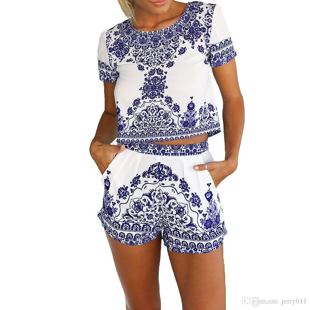 3ad670c59b 2016 New Arrival Two Piece Porcelain Short Jumpsuit Women Crop Top Playsuit  Vintage Tropical Style Party Rompers Womens Jumpsuit