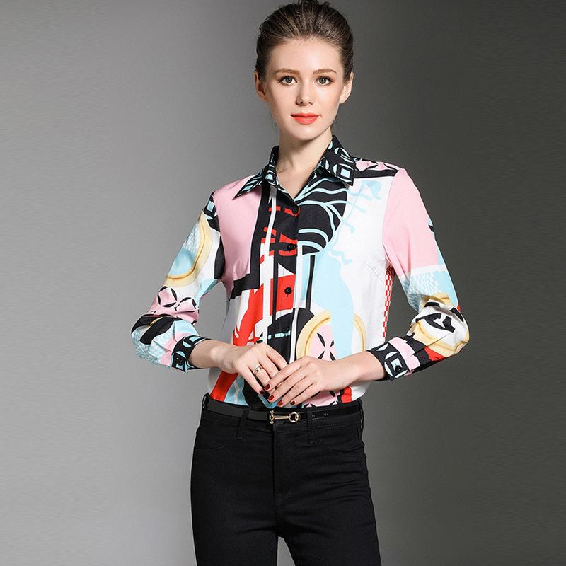 e617301c9c27 Elegant Printing Casual Shirt Slim Vintage Office Shirts Lapel Neck ...
