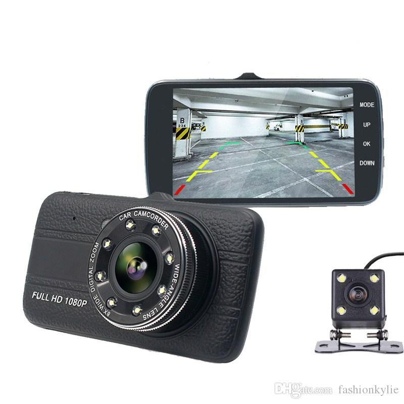 "Car Dvr Camera 4.0"" Full HD 1080P Dash Cam Auto Registrator Dual Lens Night Vision With Rear View Mirror Video Recorder"