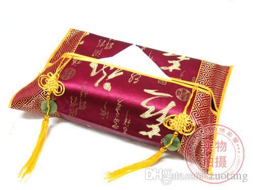 Kinesisk Knot Jade Patchwork Avtagbar Vävnadsbox Skydd Bil Heminredning Etnisk Silk Brocade Kleenex Boxes Case