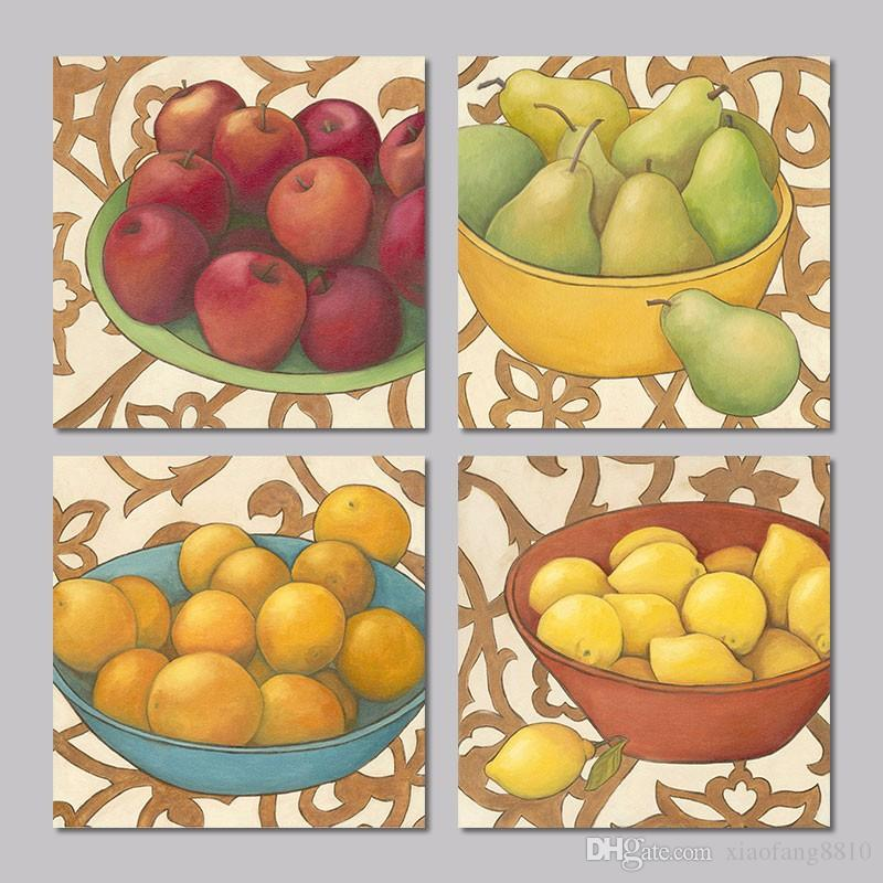 Still Life Food Fruit Apple Pear Orange Lemon 4pcs Set Decoration Wall Art Picture Posters Canvas Painting Living Room Unframed