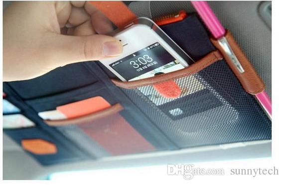 3 Farbe Auto Sonnenblende Aufbewahrungspunkt Tasche Dokumente Organizer Tasche Kartenhalter Kreditkarte Namecard stift