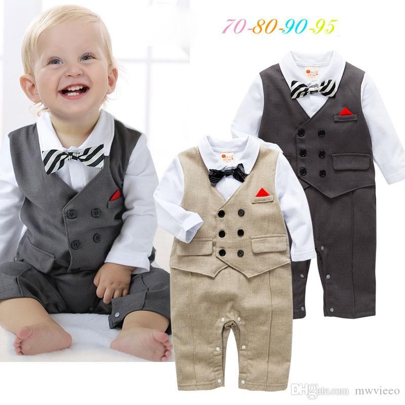 097b8c5e8aca 2019 Ins Babys Boys Romper Stripe Kids Clothing 2017 New Autumn Winter  Jumpsuits Rompers Long Sleeve Newborn Bow Tie Romper YAN 599 From Mwvieeo