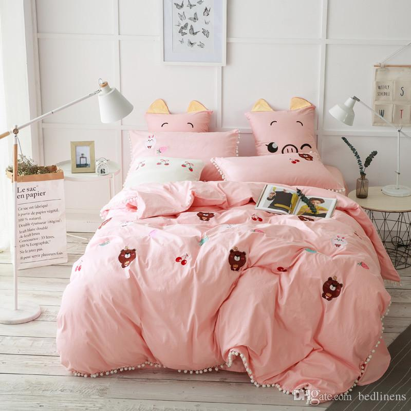 2017 Dovet Cover Queen King Pink Comforters Pillow Sham